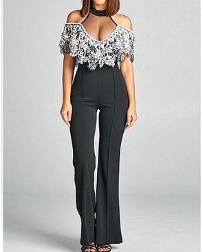 Black Halter Jumpsuit w/Leaves Lace Crochet Trim