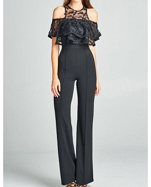 Black Cold Shoulder Lace Jumpsuit