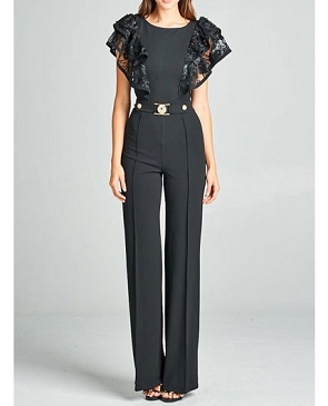 Black Jumpsuit w/Lace Ruffles and Gold Belt Trim