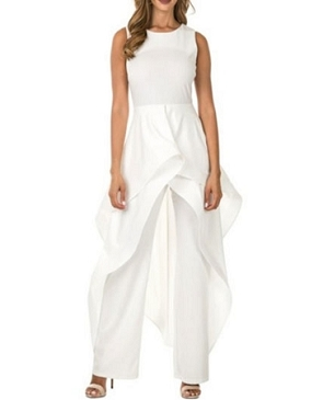 White Jumpsuit w/Skirt Overlay