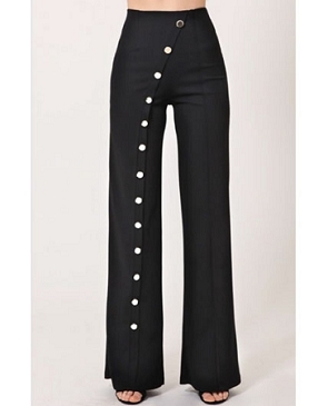 High Waist Pants with Silver Diagonal Buttons- 2 Colors