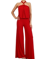 Halter Jumpsuit w/Bamboo Buckle Trim- 2 Colors