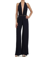 Deep V Halter Jumpsuit w/Metallic Belt- 2 Colors
