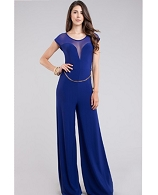 Mesh Sweetheart Jumpsuit w/Chainbelt- 2 Colors