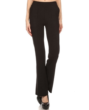 Black Scuba Straight Leg Pants