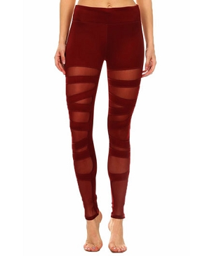 Ballerina Mesh Leggings- Burgundy
