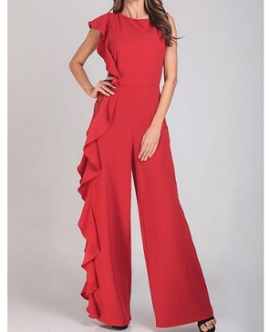 Lace Side Panel Jumpsuit w/Ruffles- 2 Colors