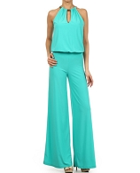 Halter Jumpsuit w/Gold Trim- 3 Colors
