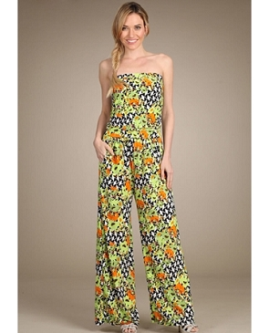 Tropical Print Strapless Jumpsuit