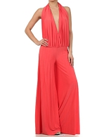 Deep V Halter Jumpsuit- 3 Colors