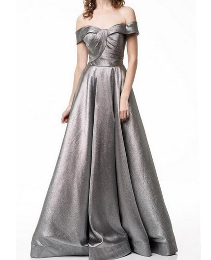 Metallic Silver Off the Shoulder Ball Gown