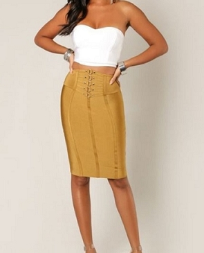 Bandage Skirt w/Cinched Buckle- 2 Colors