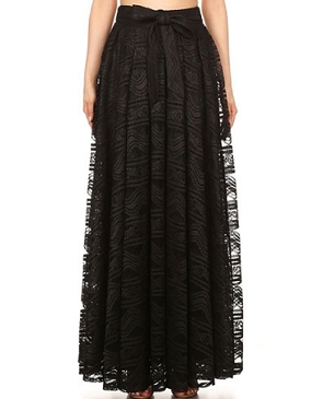 Black Crochet Lace Long Skirt