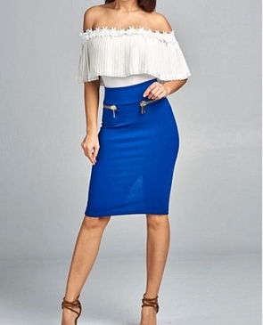 Midi Skirt w/Gold Zippers- 2 Colors
