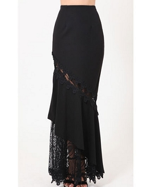Black Long Skirt with Lace Trims