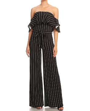 Pinstripe Off the Shoulder Jumpsuit