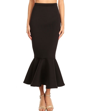 Scuba Midi Skirt with Ruffle- 3 Colors