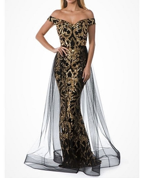 Sequins Off the Shoulder Mermaid Evening Dress with Tulle Overlay- 2 Colors