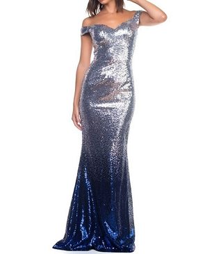 Silver Sequins Off the Shoulder Evening Dress w/Ombre Blue