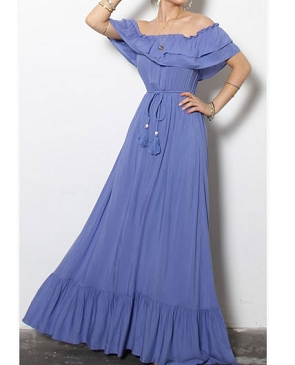 Off the Shoulder Woven Long Maxi Dress w/Ruffles- 3 Colors