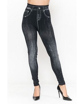 Seamless Denim Jeggings with Rhinestones- 2 Colors