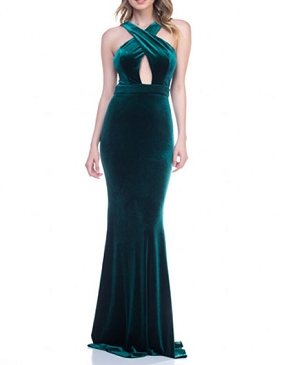 Velvet Keyhole Halter Formal Dress-2 Colors