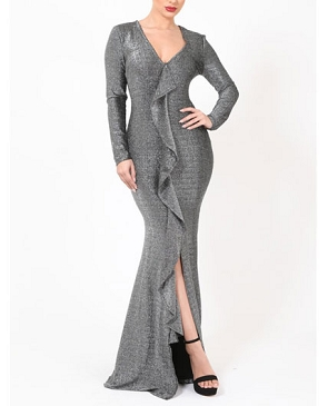 Long Sleeve Silver Lurex Formal Dress w/Ruffles