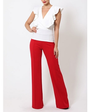 V-Neck Solid Top with Ruffles- 2 Colors