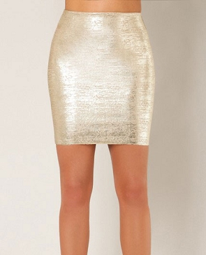 Metallic Bandage Mini Skirt- 2 Colors