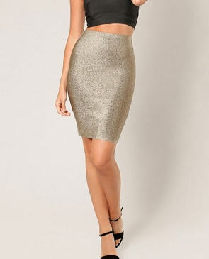 Lurex Pencil Bandage Skirt- 3 Colors