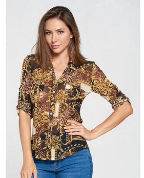 Animal Chain Print Mesh V-Neck Top