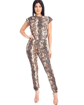Animal Print Lurex Jumpsuit