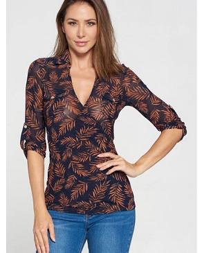 Navy Leaves Print Mesh V-Neck Top