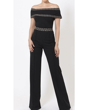 Romana Off the Shoulder Black Jumpsuit