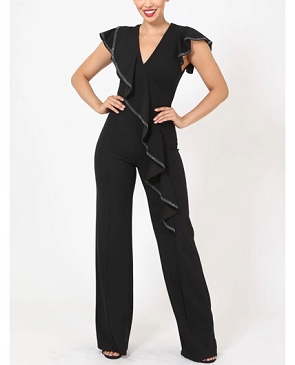 Black Jumpsuit with Ruffles and Studs