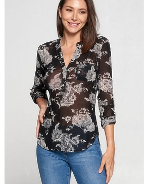 Black Paisley Print Mesh Top