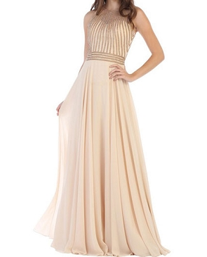 Chiffon Evening Dress w/Rhinestone Bodice- 2 Colors