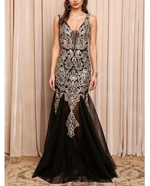 Black Tulle Mermaid Evening Dress w/Gold Apliques