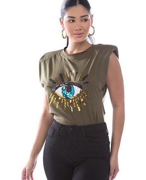 Muscle Tshirt with Sequins Eye Patch- 2 Colors