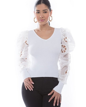 White Knit Top with Lace Puff Sleeves