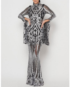 Black and Silver Sequins Long Sleeve Evening Dress w/Slitted Sleeves