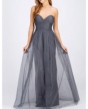Charcoal Strapless Tulle Formal Dress