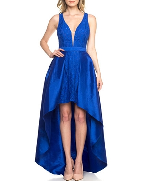 Royal Blue Taffeta Hi Low Dress
