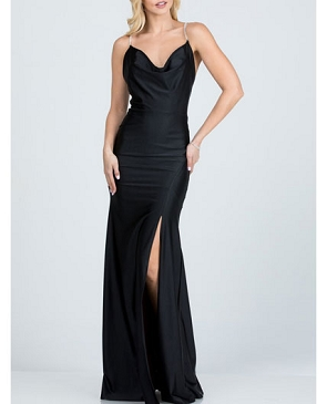 Crystal Cowl Neck Formal Dress with Rhinestone Straps- 3 Colors
