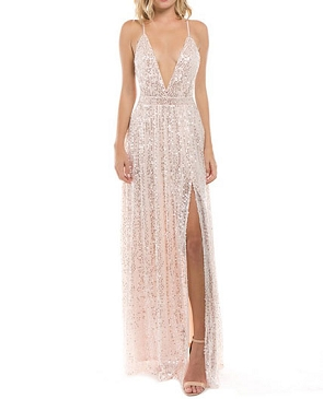 Blush Sequins V-Neck Maxi Dress with Slit