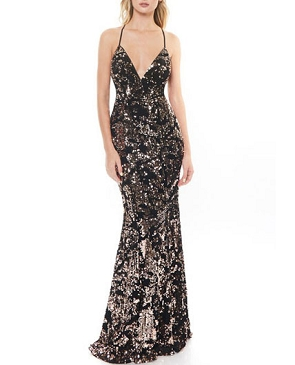 Black Velvet Formal Dress with Rose Gold Sequins