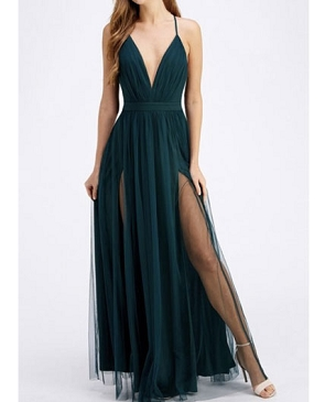 Hunter Green Deep V Tulle Long Maxi Dress w/Slits