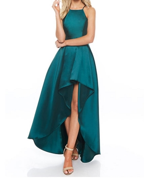 Mikado Halter Hi Low Formal Dress- 3 Colors