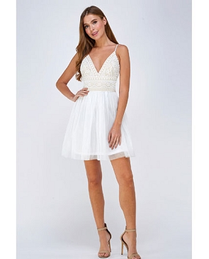 White Tulle Short Dress with a Crochet Bodice