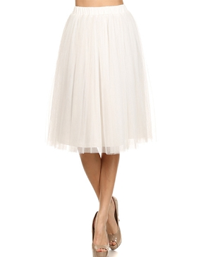 Tulle Knee Length Skirt- 3 Colors